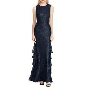 Ralph Lauren Navy Ruffled Lace Evening Dress 16